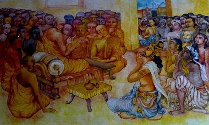 Painting of Ashoka and Monk Moggaliputta-Tissa