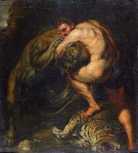 Hercules fight with the Nemean lion
