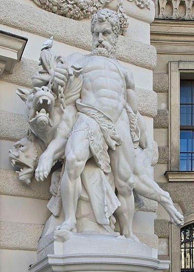 Hercules and Cerberus statue