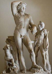 Drunken Dionysos and satyr