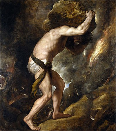 Sisyphus with the Boulder