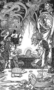 Brokkr and Eitri forging Mjollnir