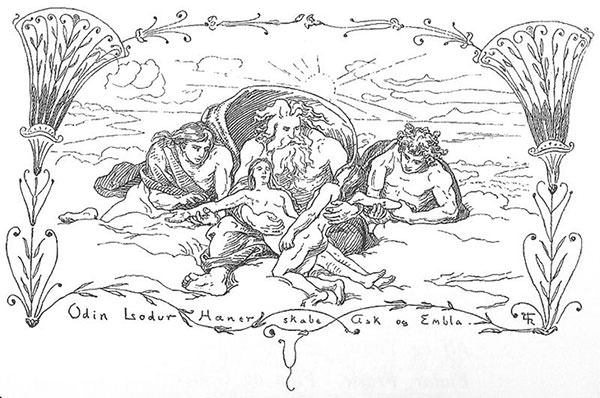 Hoenir, Lodurr and Odin create Askr and Embla