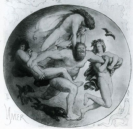 Ymir attacked by Odin, Vili and Ve
