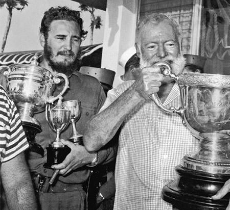 Hemingway and Castro in Cuba
