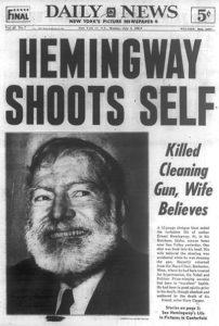 Hemingway's suicide news report